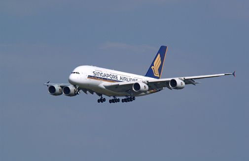 The world's largest airliner, the Airbus A380, makes its first commercial flight.