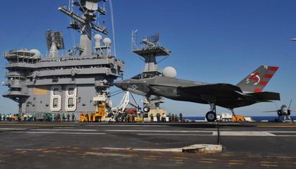 Navy F-35 Makes Its First Carrier Landing, With an Audience