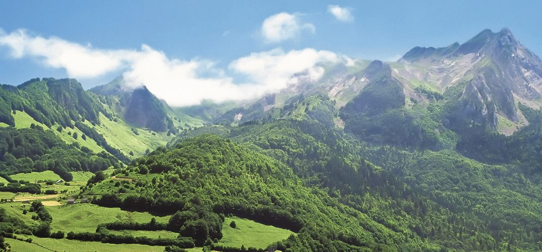 The Pyrenees, situated between Spain and France