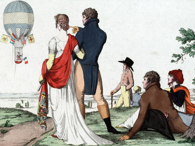 drawing of people in regency clothing watching a balloon flight