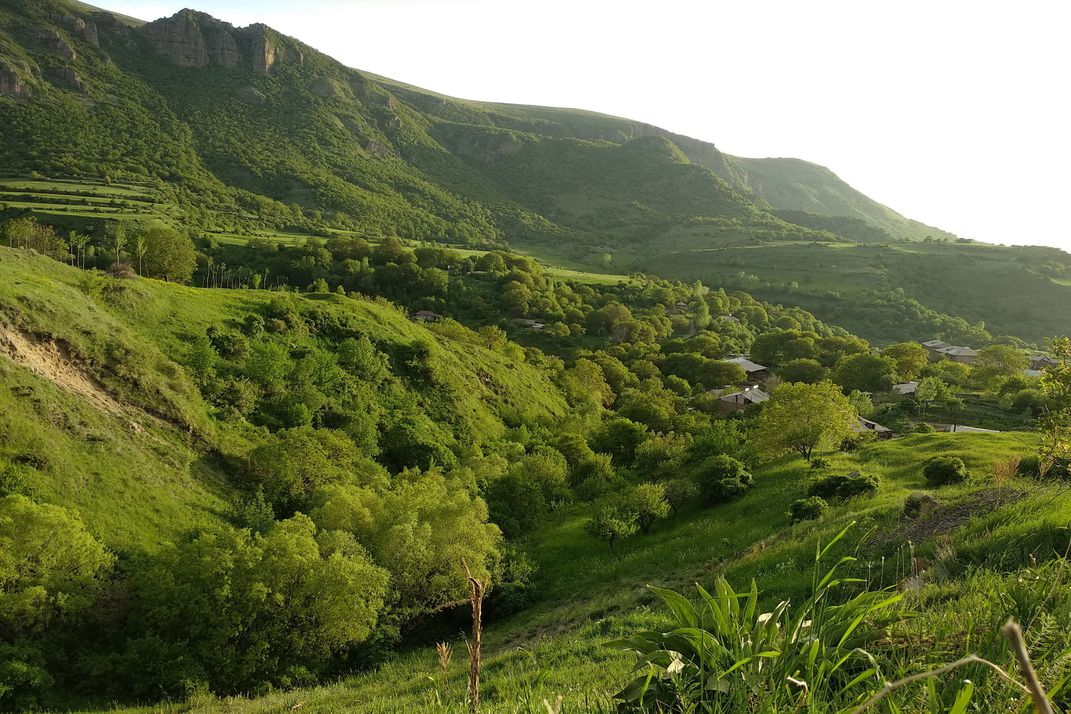 A grassy valley hosts an arrangement of small buildings belonging to various wineries.