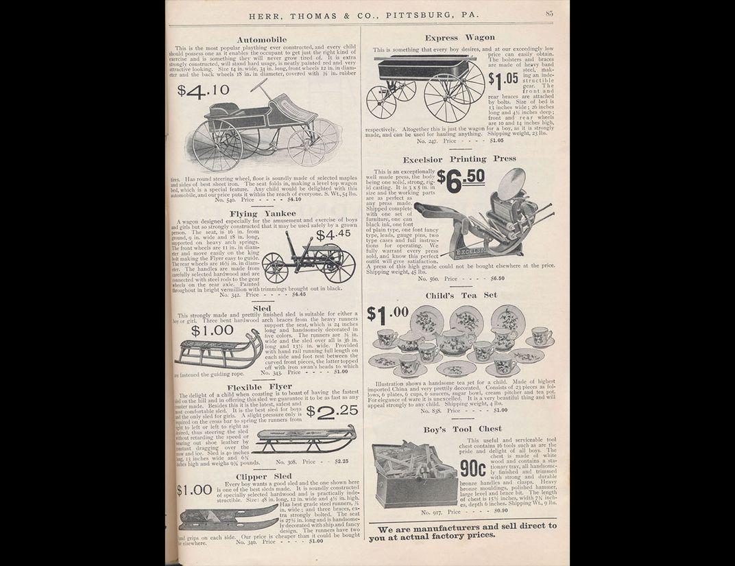 Catalog page showing various styles of sleds.