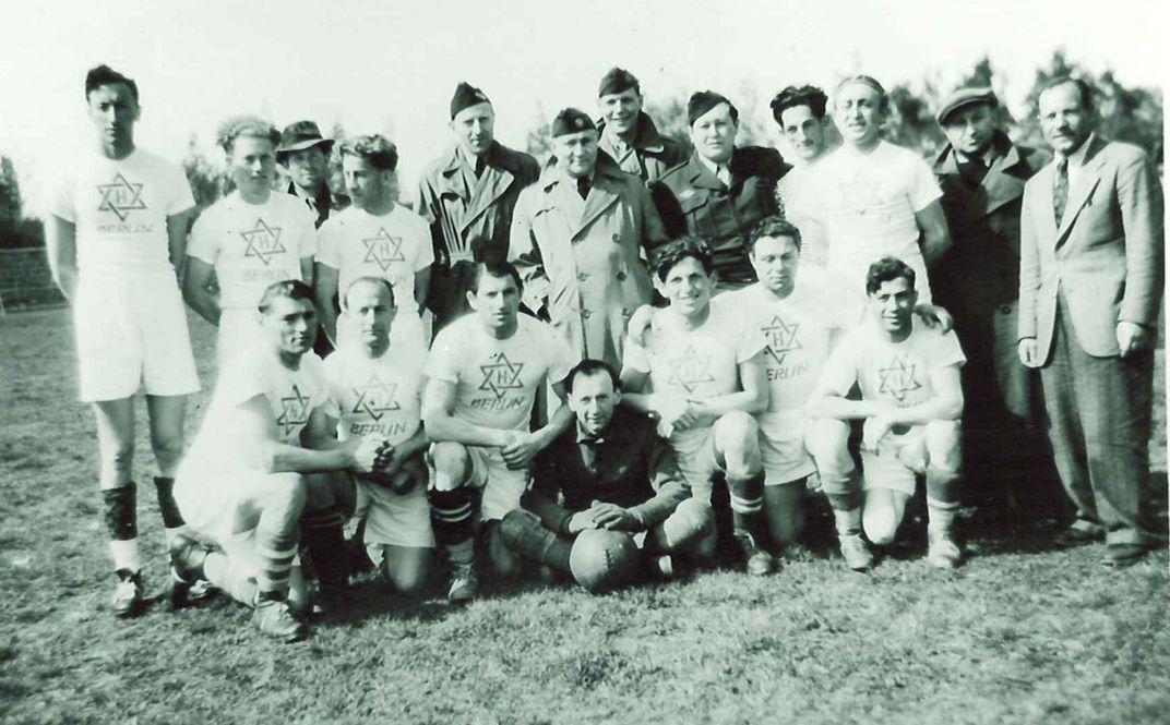 Football team photo at displaced persons camp in Germany