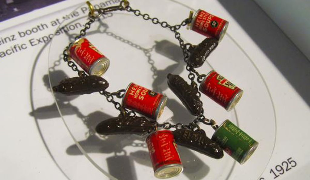 Henry Heinz gave away pickle-shaped charms like these at his booth at the 1893 World's Fair to draw visitors. It worked. (These pickle charms are from a similar marketing gimmick in the 1920s.)