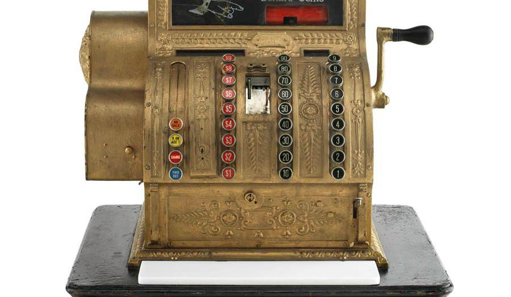 Cash register from Marshall Field's, 1914. At the turn of the century a shopping revolution swept the nation as consumers flocked to downtown palace department stores, attracted by a wide selection of goods sold at inexpensive prices in luxurious environments.