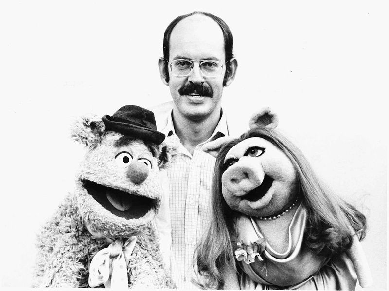 The Muppet Show Puppeteer Frank Oz Actor poses with Muppets Fozzie Bear Miss Piggy