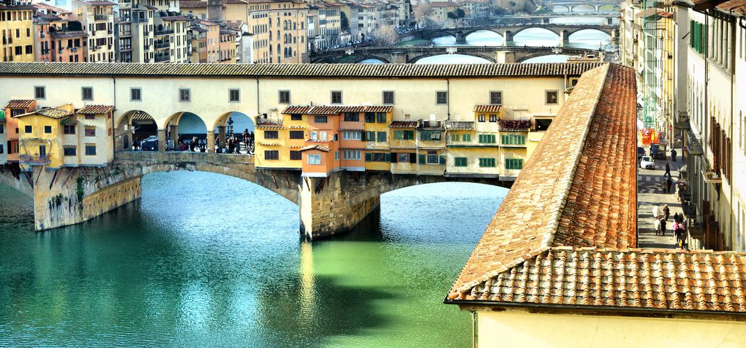 The famous Ponte Vecchio spanning the Arno in Florence