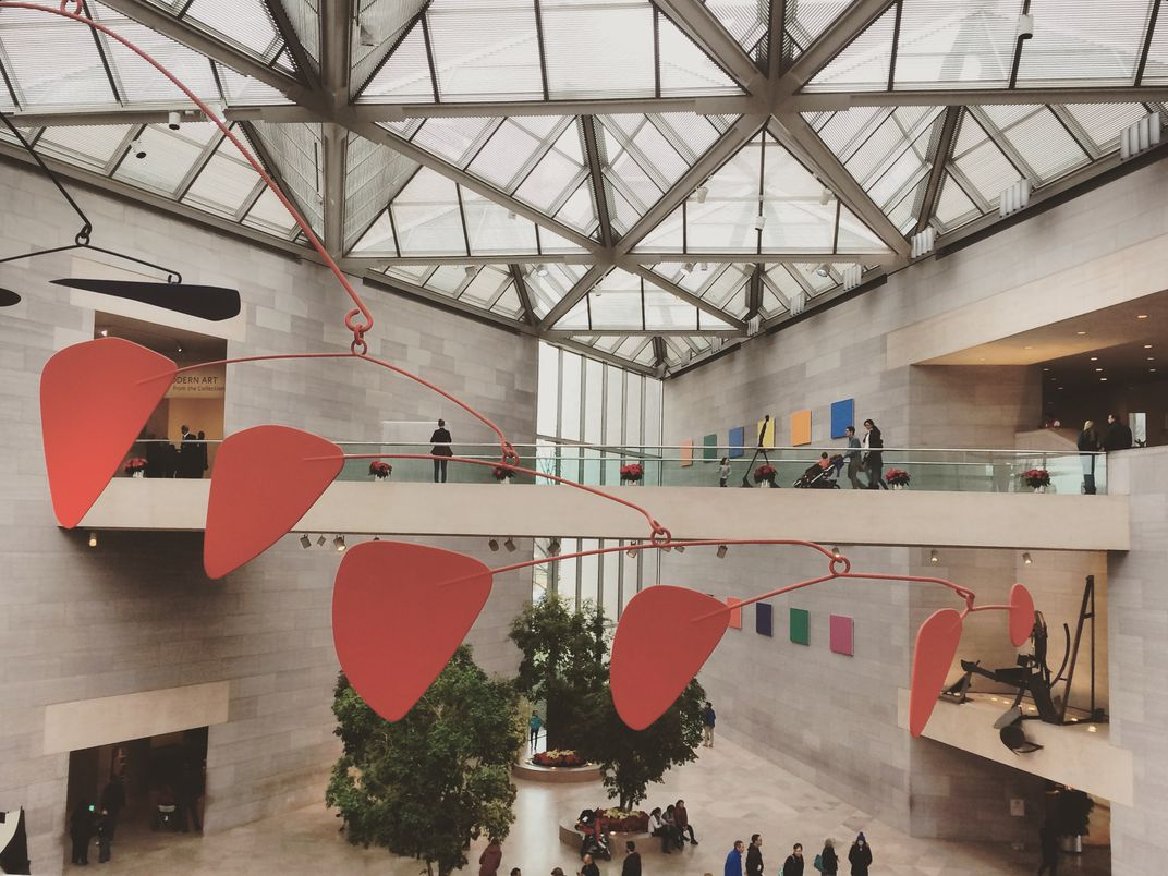 A Calder mobile in the main hall of the National Gallery of Art's East Building