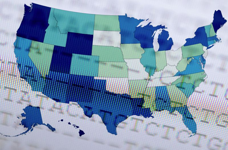 letters over a map of the United states with different states shaded different colors