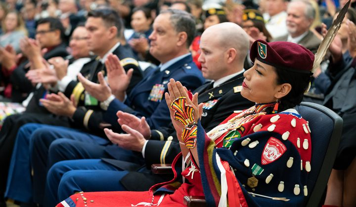 Chief Warrant Office Two Misty Dawn Lakota (Oglala Lakota) takes part in the White House Conference on Supporting Contemporary Native American Veterans. Washington, D.C., November 19, 2019. (White House photo by Andrea Hanks)