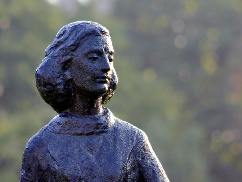 Statue of Anne Frank at Merwedeplein in Amsterdam