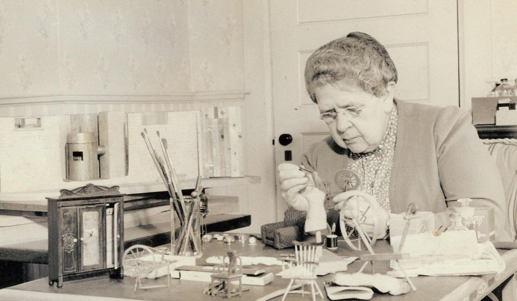 Frances Glessner Lee, at work on one of the Nutshells in the early 1940s