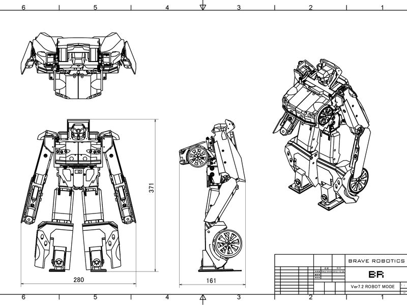 Schematic drawings for the transforming robot