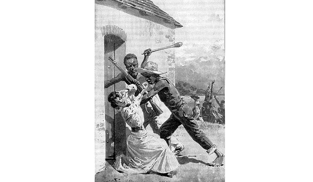 This illustration depicting a German woman being attacked by black men was typical of what Germans would have been told about the Herero genocide: that white citizens, women particularly, were in danger of attack