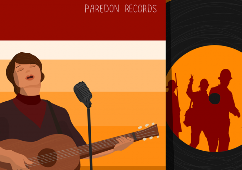illustration of woman strumming guitar and singing, as well as a record with soldiers silhouetted in the center