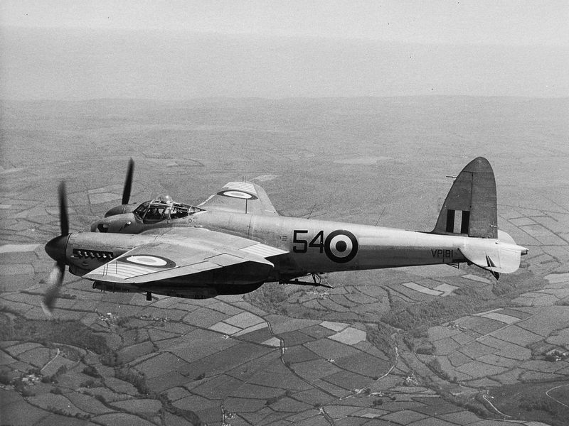 A Mosquito in flight; of the more than 7,000 built, only three known airworthy examples survive.