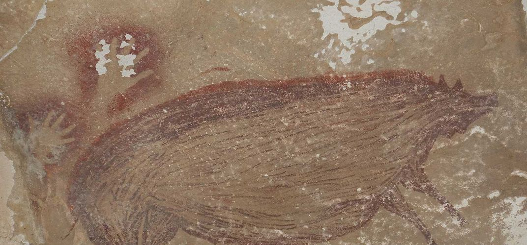Caption: 45,000-Year-Old Painting May Be Oldest Animal Art