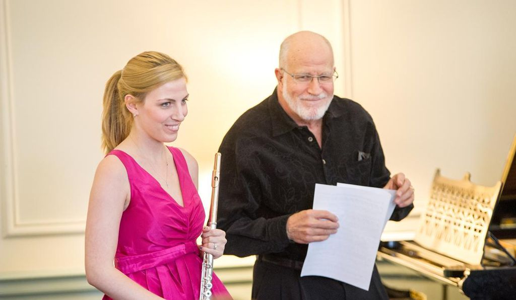 Marissa Stygles, a Judson artist-in-residence, and Bill Corcoran give a recital at the retirement home.