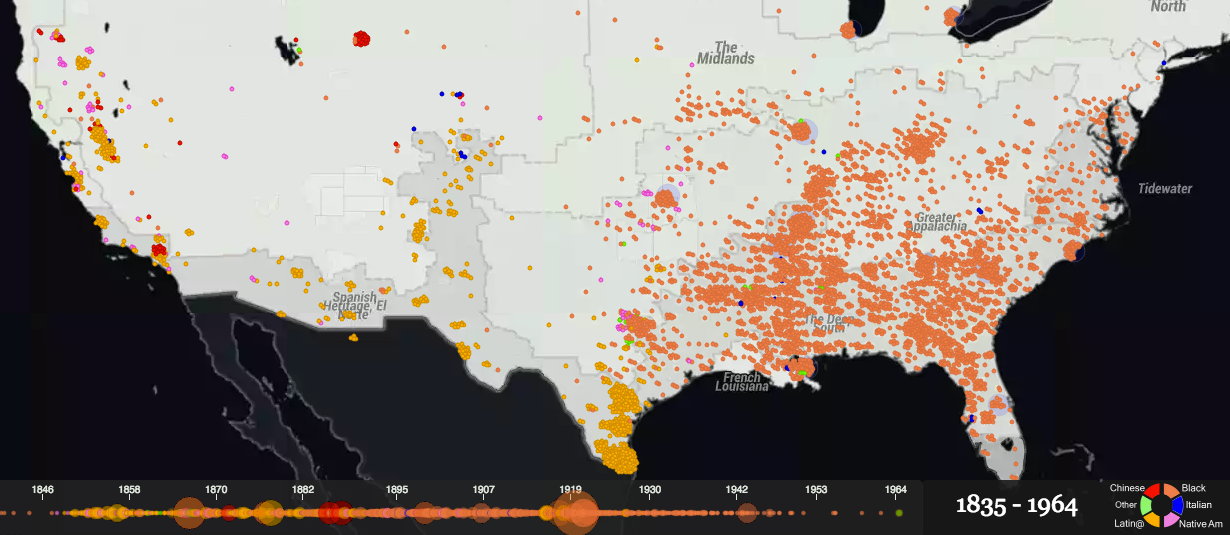 Map Of Us In 1870.This Map Shows Over A Century Of Documented Lynchings In The United