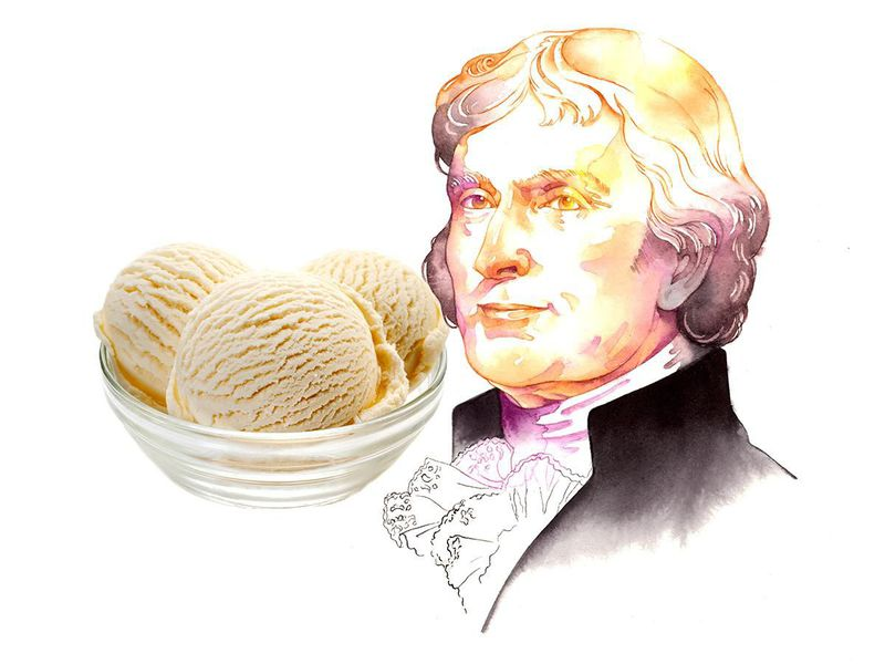 Thomas Jefferson and a bowl of vanilla ice cream