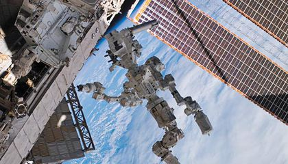 Two-armed Dextre robot, which will be used to demonstrate orbital refueling.