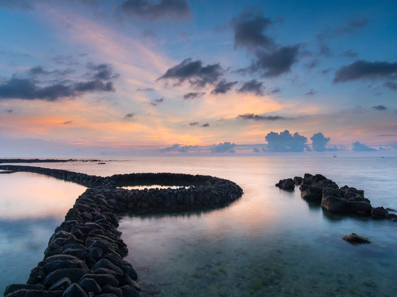 Stone Fishing Weir at Sunset, Taiwan