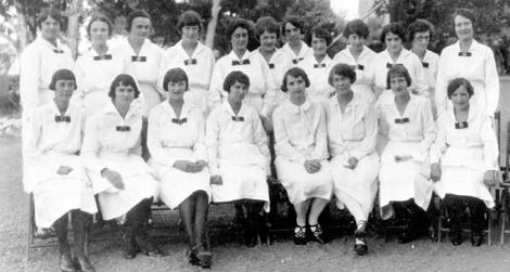 Harvey Girls, circa 1926, in evening uniforms at the El Tovar Hotel.