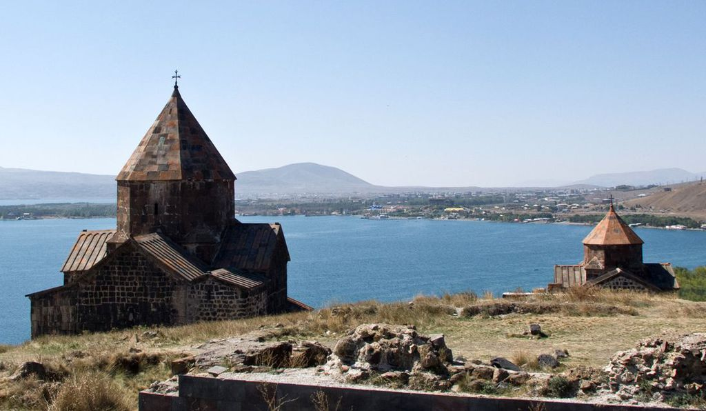 The Church of the Holy Apostles and The Church of the Mother of God, sited along the shores of Lake Sevan.