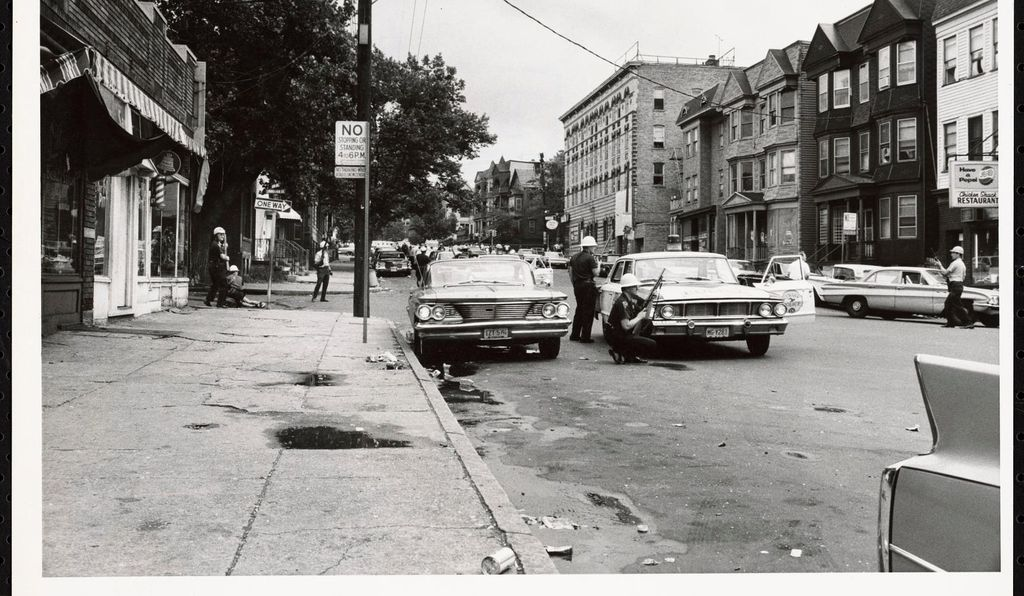 The Kerner commission confirmed that nervous police and National Guardsmen sometimes fired their weapons recklessly after hearing gunshots. Above, police patrol the streets during the 1967 Newark Riots.