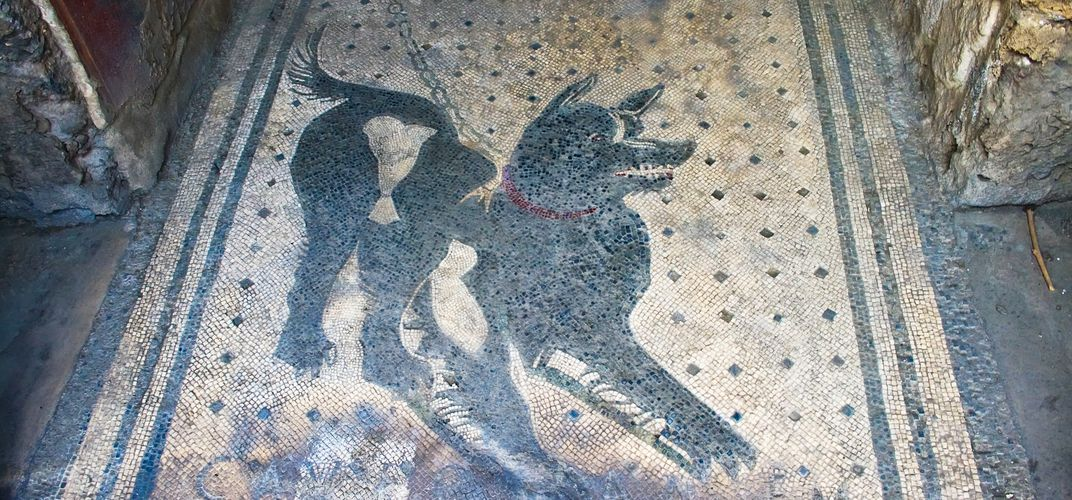 """Beware of Dog"" floor mosaic at a house in Pompeii"