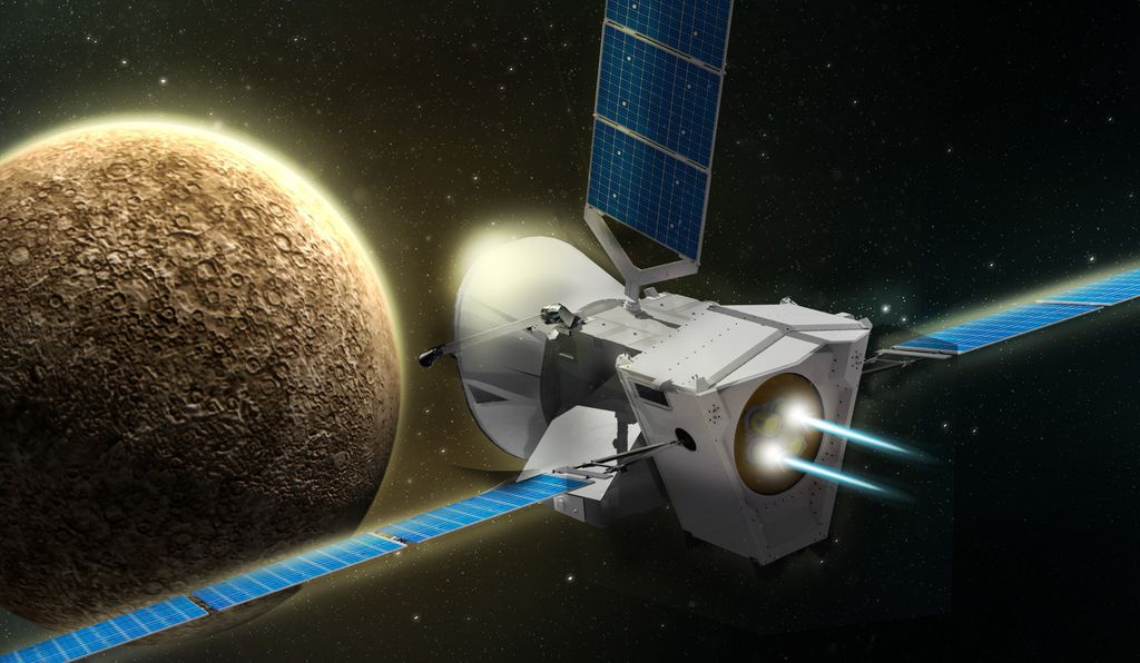 An artist's concept of BepiColombo approaching Mercury. The two spacecraft will separate upon reaching Mercury in December of 2025.