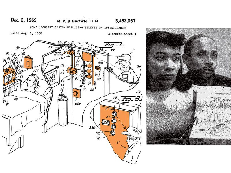 patent application for home-security system and an image of a woman and a man displaying the patent