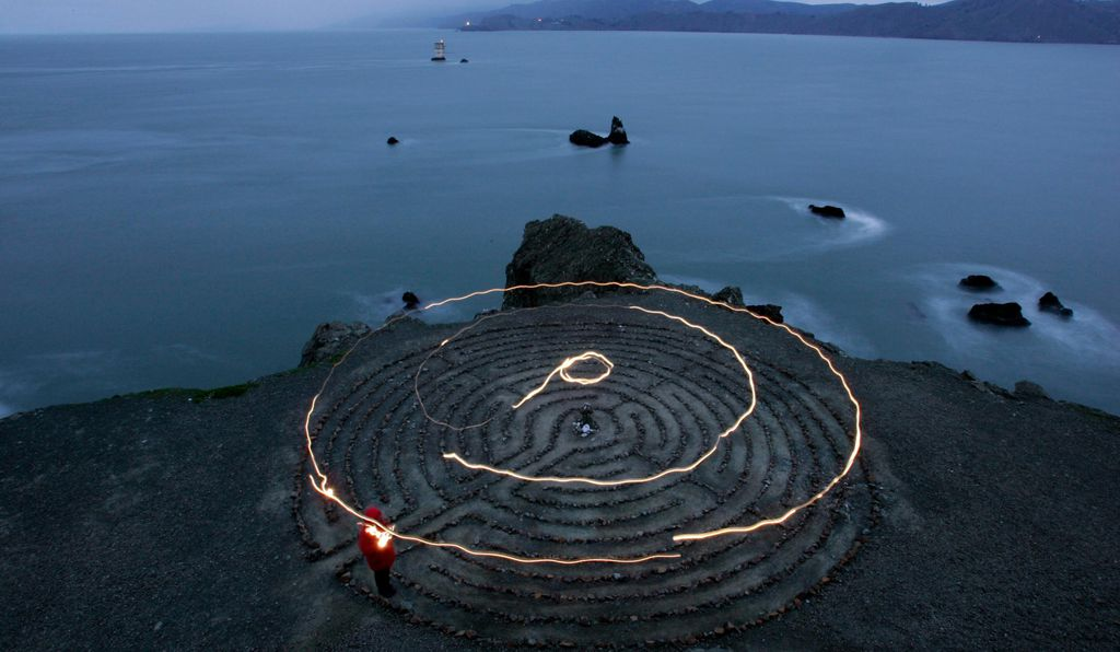 The 11 Circuit labyrinth located on a bluff overlooking Mile Rock Beach at Land's End, in San Francisco, California. The 18-foot rock labyrinth was installed on the Spring Equinox of 2004.