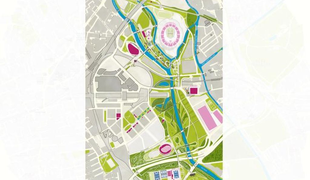 "This map shows the triangular site for the culture and university district of ""Olympicopolis."""