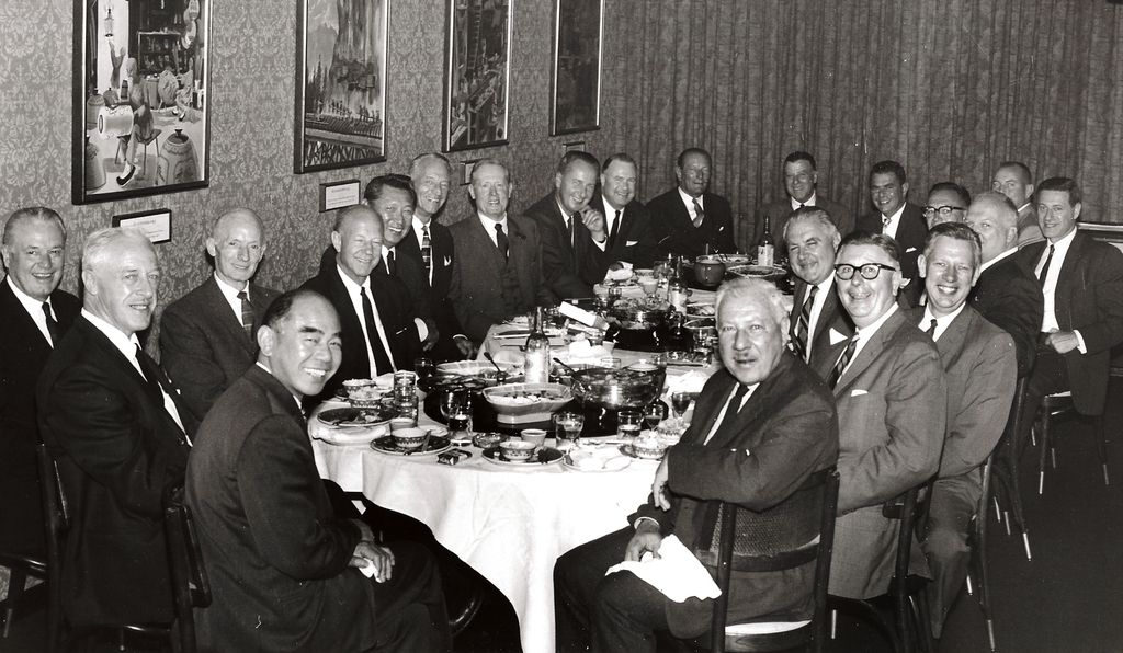 Restaurateur Johnny Kan in the center, 1965