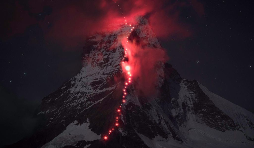 In 2015, a team of climbers carried red lights up the side of the mountain in recognition of the first ascent that took place 150 years earlier.