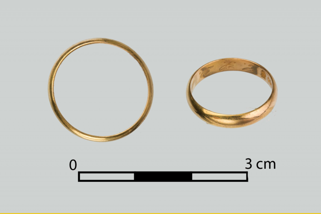 A gold wedding ring found by the team