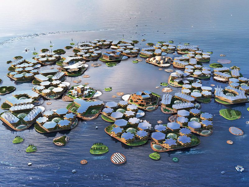 rendering of a floating city that looks like high-tech lily pads