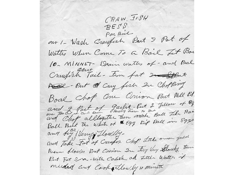 Kid Ory's recipe for a dish called Crawfish Bess