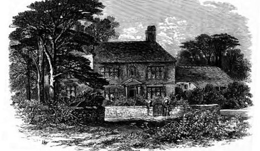 Wildfell Hall, which may have inspired by Ponden Hall, in the engraving by Edmund Morison Wimperis.