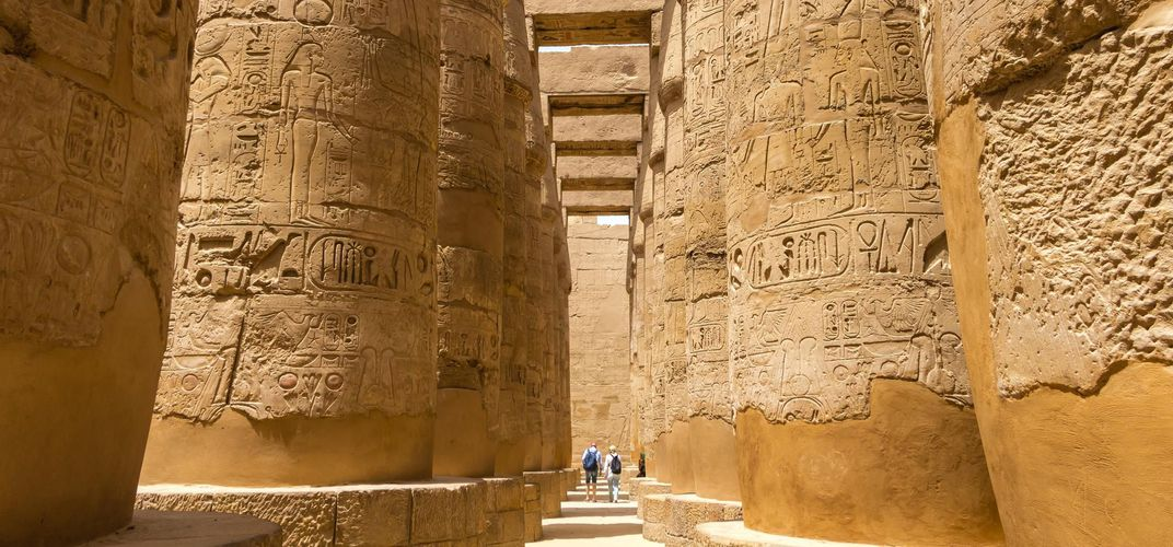 The grand Hypostyle Hall at the Temple of Karnak, Luxor