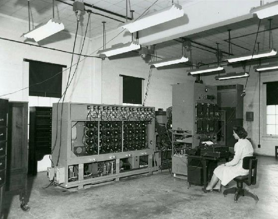 A woman operates an early decryption machine for the NSA's progenitor