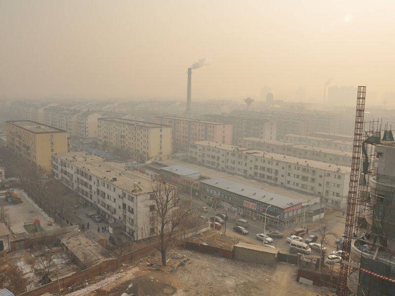 Smog in a Beijing neighborhood