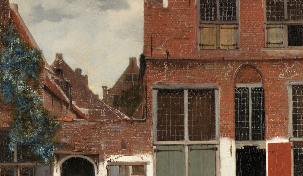 View of houses in Delft, known as