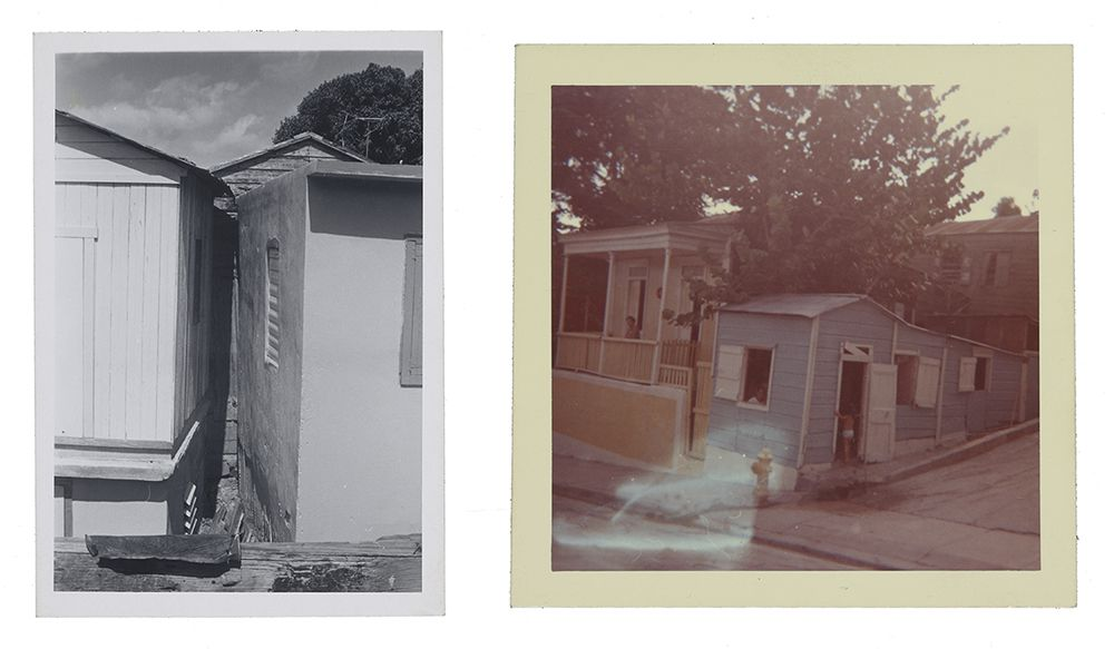 Left image is of a black and white photograph of two structures built at a sharp angle to one another. Image on right is of two wooden structures, one blue and one yellow, built very close together on a corner, with a large tree behind them.