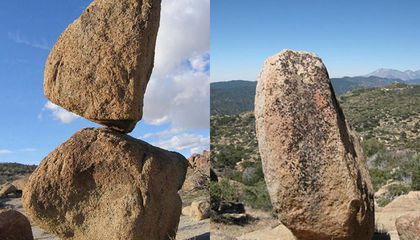 Why Don't Balancing Boulders Fall During Earthquakes?