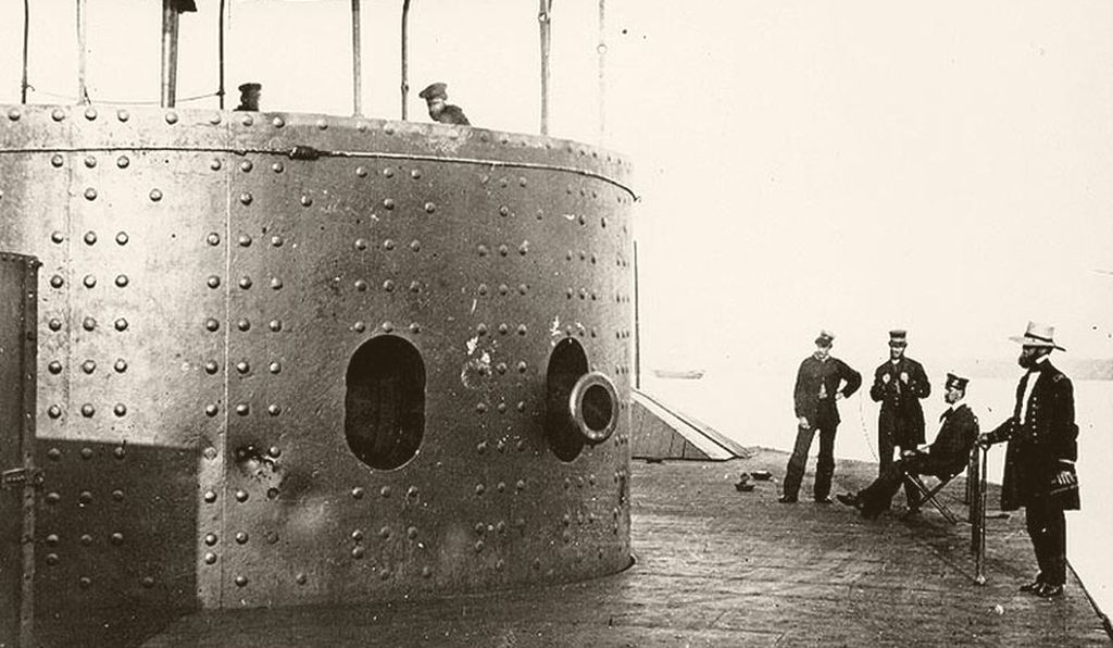 The turret of the USS Monitor, photographed on the James River in July 1862. The ship sank in a hurricane that December.