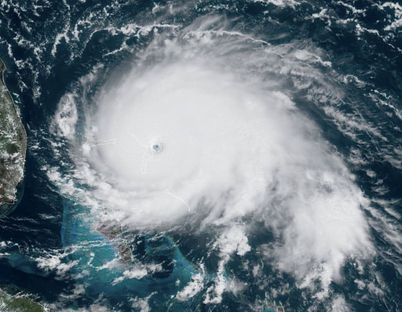Hurricane Dorian at peak intensity before making landfall in The Bahamas