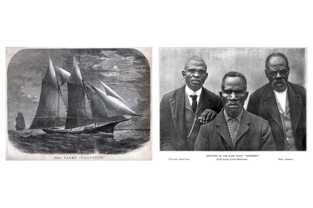 """Left: Inked drawing of a ship at sea, with large double mast. Text at the bottom reads THE YACHT """"WANDERER. On right: Early black-and-white photograph of three Black men in nice shirts and coats, one with his hand resting on another's shoulder."""