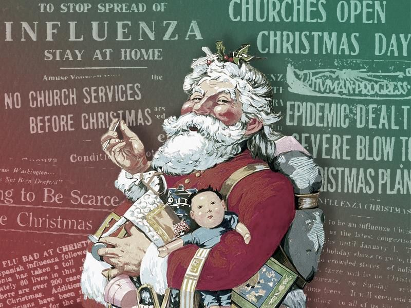 Illustration of Santa Claus in front of newspaper headlines regarding Christmas 1918